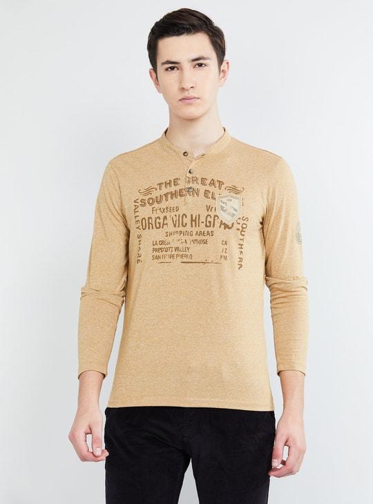 MAX Typographic Print Henley T-shirt