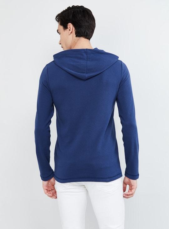 MAX Solid Hooded Slim Fit Sweatshirt