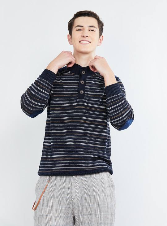 MAX Striped Knitted Polo Sweater