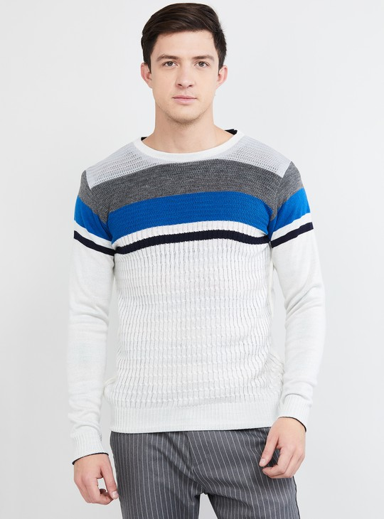 MAX Striped Round Neck Reversible Sweater