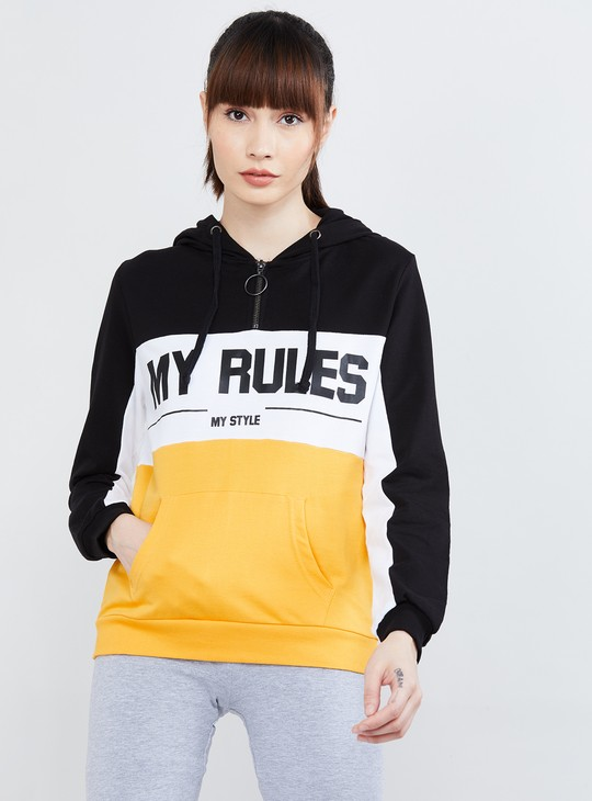 Typographic Print Sweatshirt with Hood