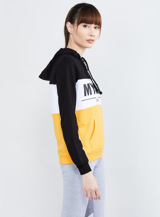 MAX Typographic Print Hooded Sweatshirt