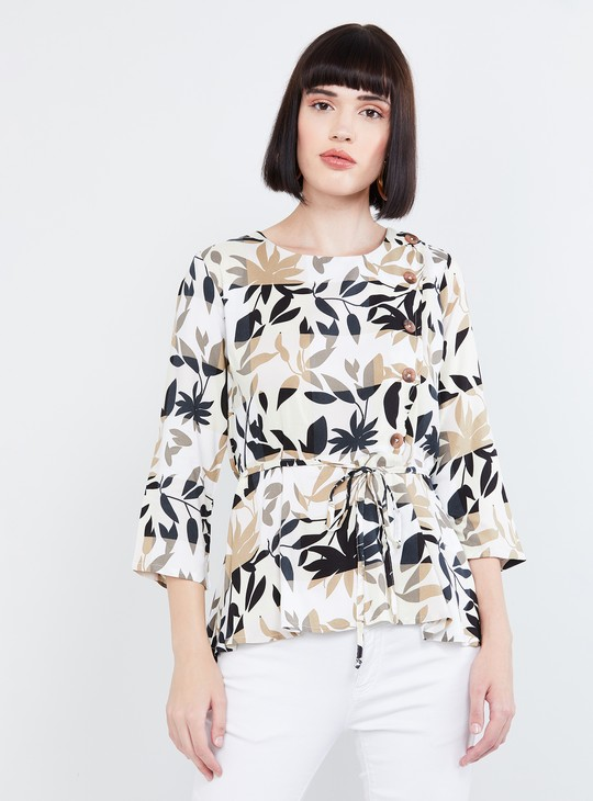 MAX Tropical Print Tie-Up Waist Top