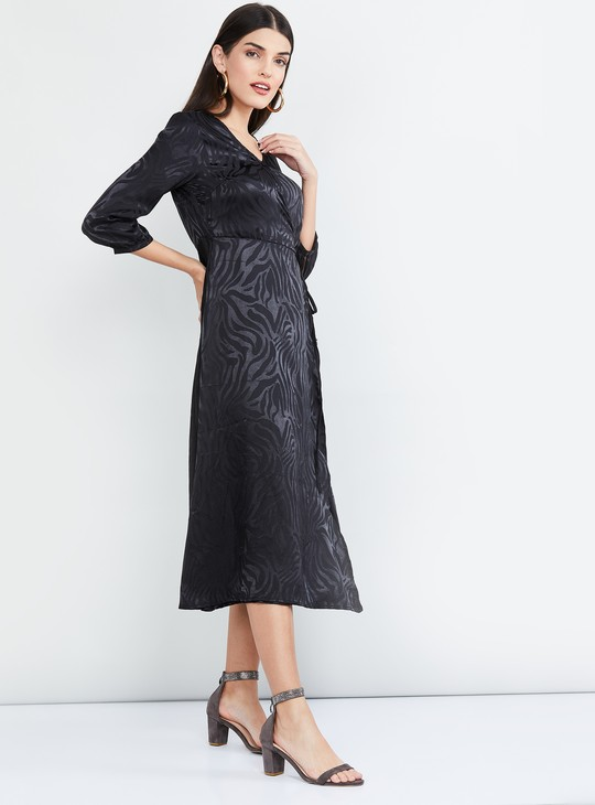 MAX Textured Wrap Dress
