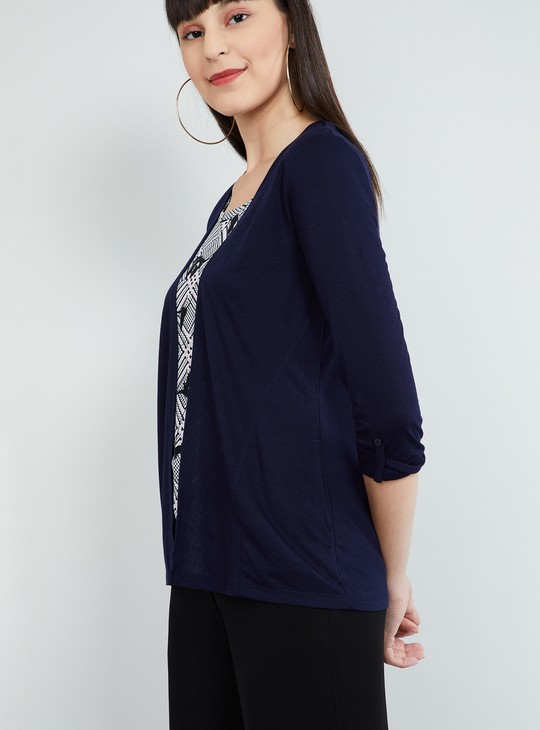 MAX Printed Top with Roll-Up Tab Sleeves