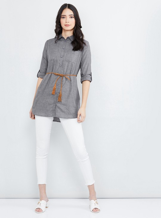 MAX Textured Rolled-up Sleeves Tunic with Belt