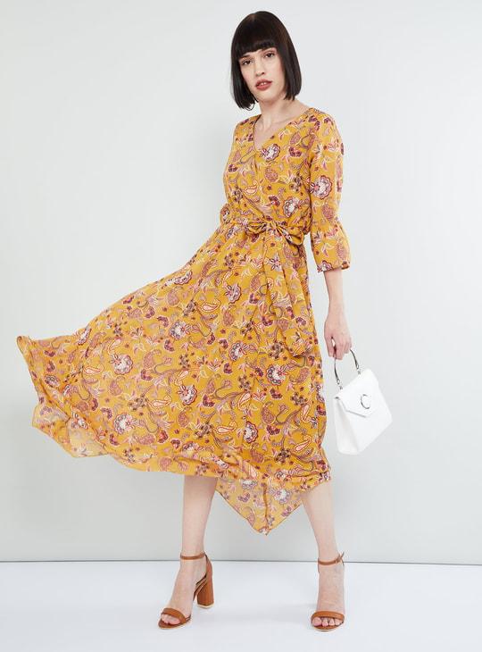 MAX Paisley Print Tie-Up Waist Midi Dress