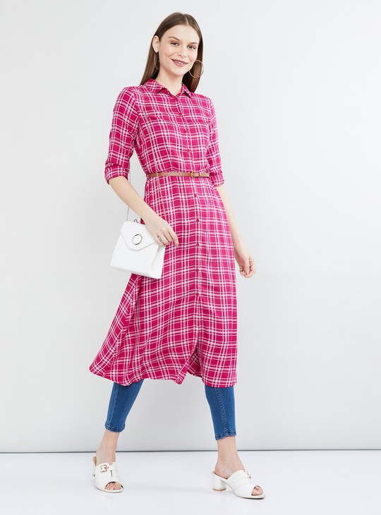 MAX Checked Shirt Tunic with Detachable Belt