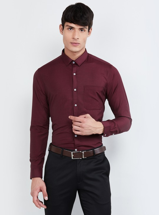 MAX Textured Full Sleeves Slim Fit Shirt