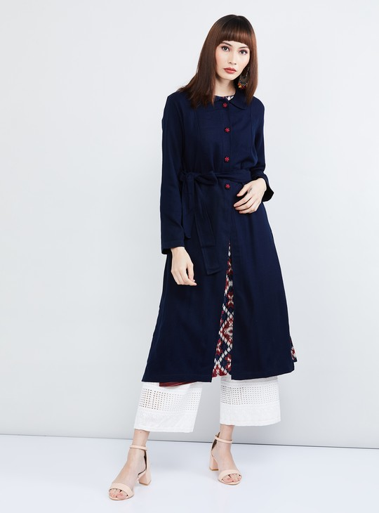 MAX Solid Long Jacket with Sash Tie-Up