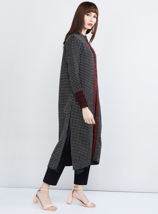 MAX Checked Longline Buttoned Shrug