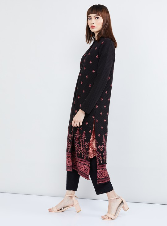 MAX Printed Longline Quilted Ethnic Jacket