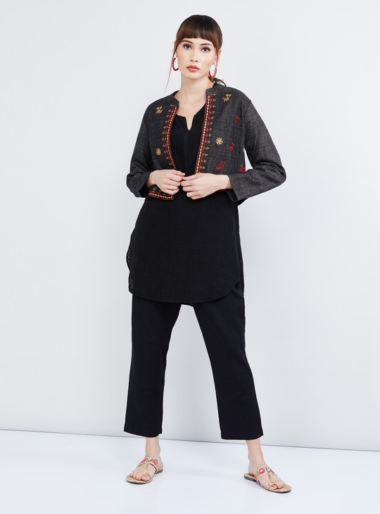 MAX Embroidered Open-Front Jacket