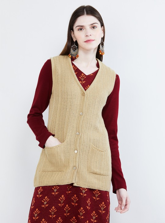 MAX Textured V-neck Sweater Vest