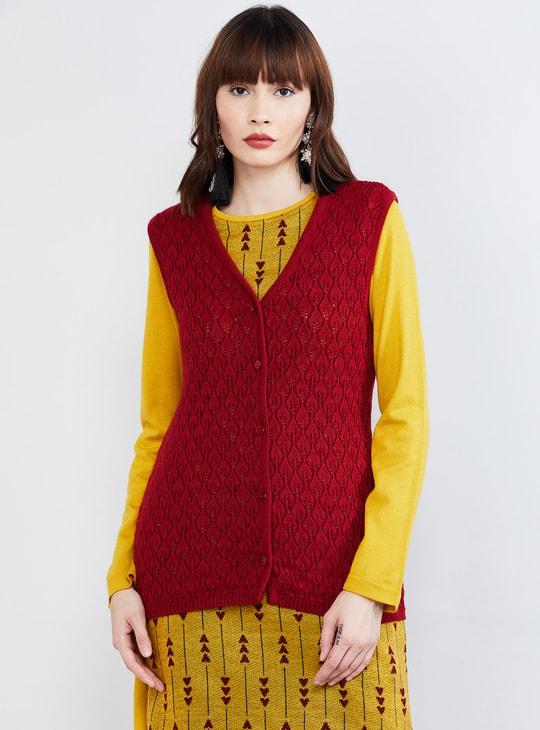 MAX Textured Sleeveless Sweater