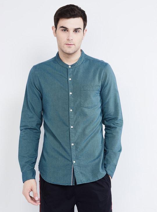 MAX Textured Full Sleeves Band Collar Shirt