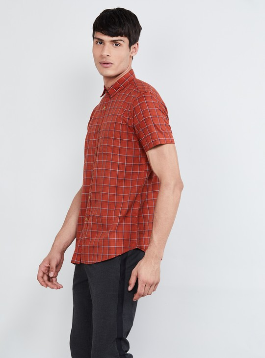 MAX Windowpane Checks Short Sleeves Casual Shirt