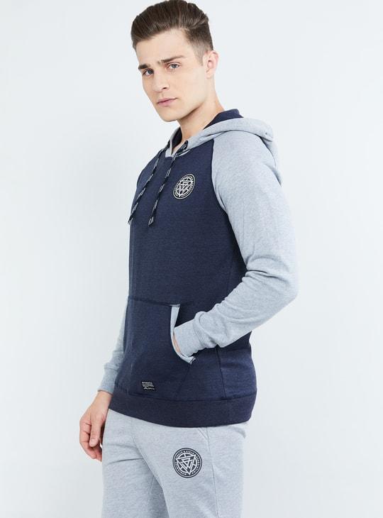 MAX Solid Raglan Sleeves Hooded Sweatshirt