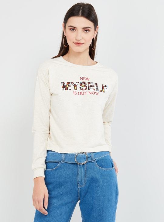 MAX Typographic Print Full Sleeves Sweatshirt