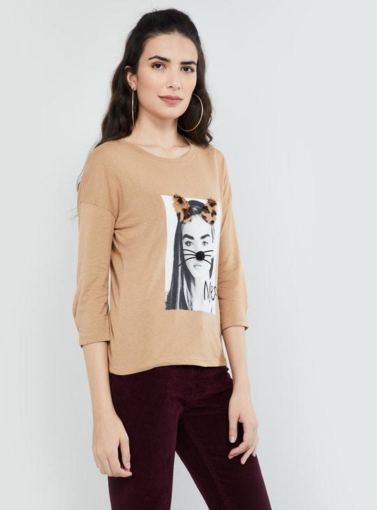 MAX Printed Three-quarter Sleeves T-shirt