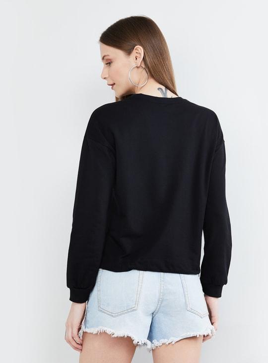 MAX Animal Print Detailed Round Neck Sweatshirt