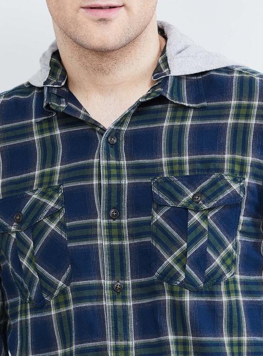 MAX Checked Full Sleeves Hooded Shirt