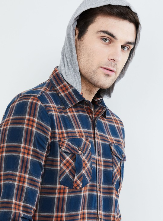 MAX Checked Slim Fit Hooded Shirt