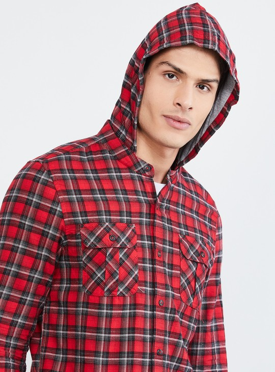 MAX Checked Hooded Casual Shirt