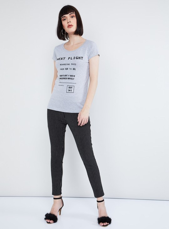 MAX Typographic Print Cap Sleeves T-shirt