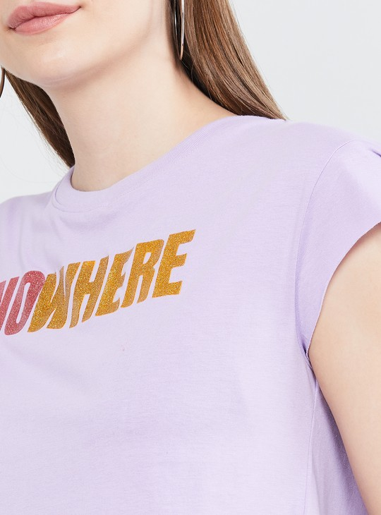 MAX Typographic Print T-shirt with Cap Sleeves