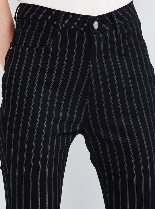 MAX Striped Ankle-Length Jeans