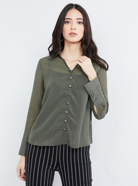 MAX Solid Shirt with Spread Collar