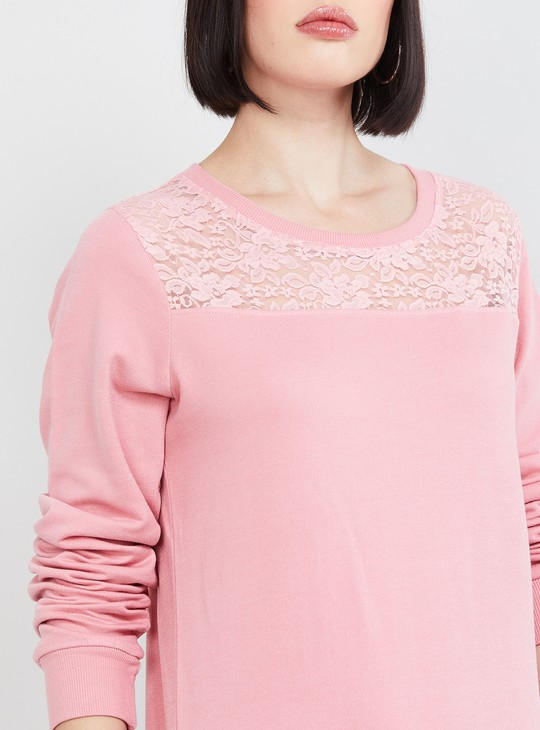 MAX Lace-Insert Round Neck Top