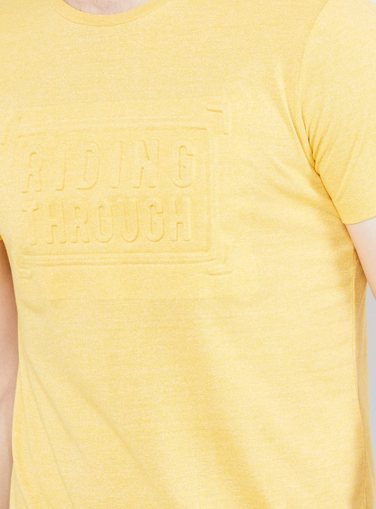 MAX Solid Crew Neck T-shirt with Embossed Detail