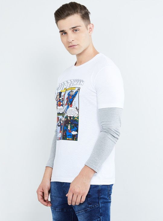 MAX Superman Print Crew Neck T-shirt
