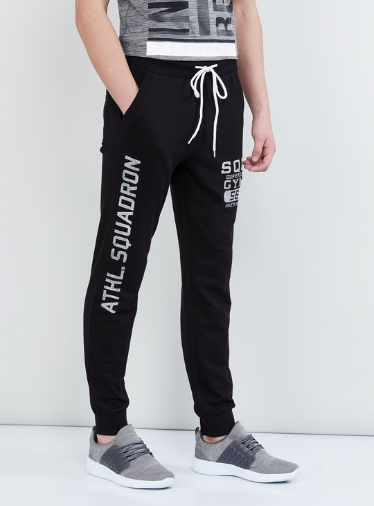 MAX Typographic Print Joggers with Drawstring Waist
