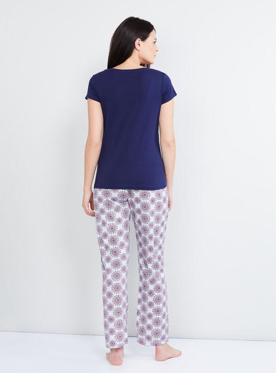 MAX Printed Cap Sleeves Top with Pyjamas