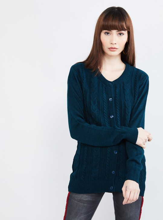 MAX Cable Knit Full Sleeves Cardigan