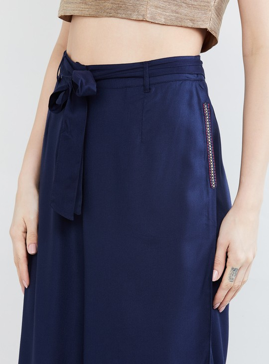 MAX Solid Tie-Up Detail Culottes