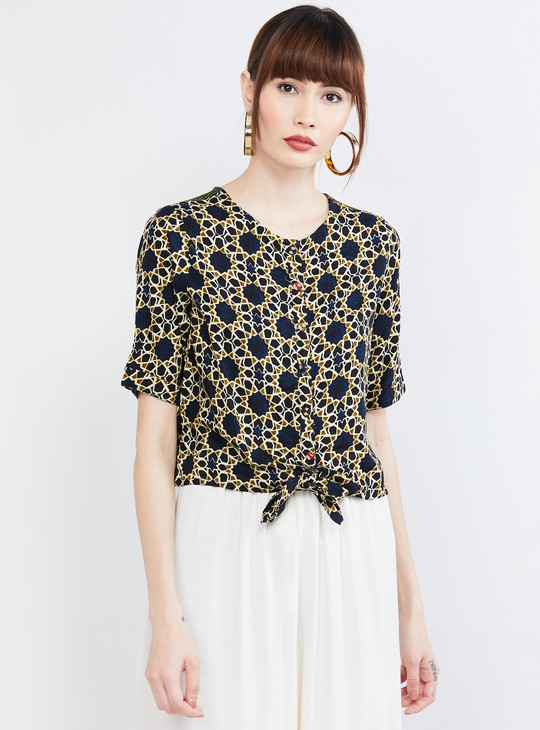 MAX Printed Button-Down Tie-Up Hem Top