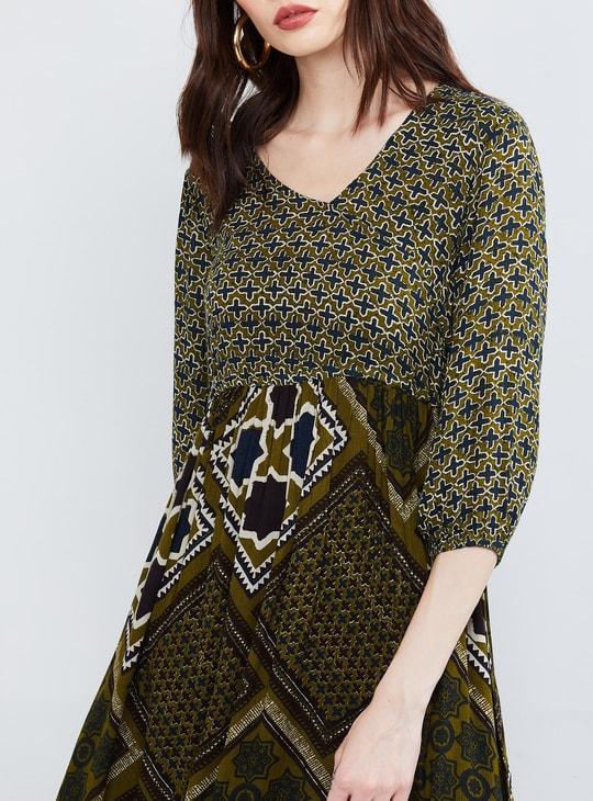 MAX Printed Three-quarter Sleeves Maxi Dress