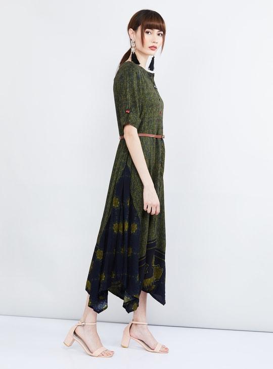 MAX Printed Button Down Asymmetrical Hem Dress