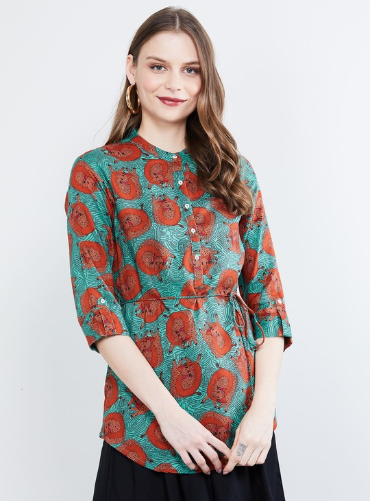 MAX Roll-Up Sleeves Printed Tunic