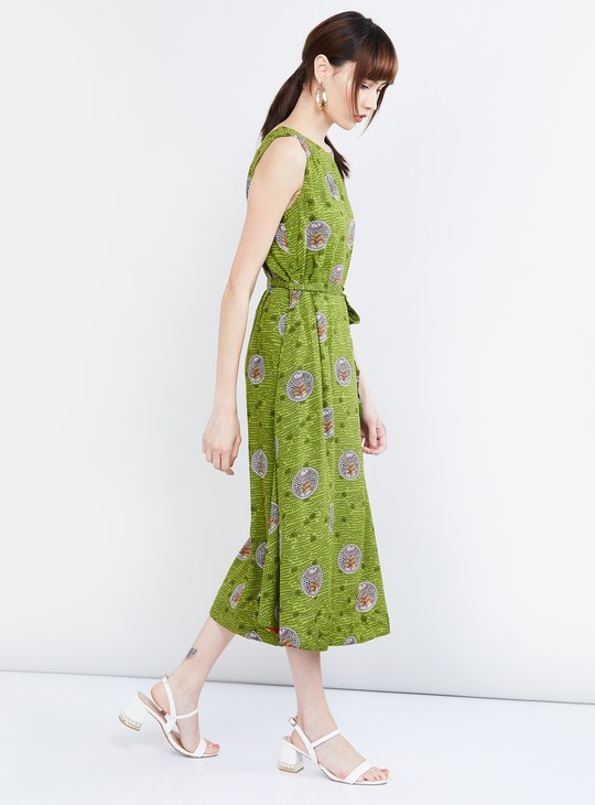 MAX Printed Sleeveless Midi Dress