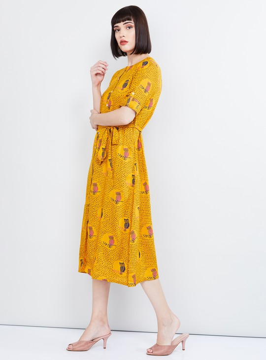 MAX Printed Dress with Tie-Up Detail