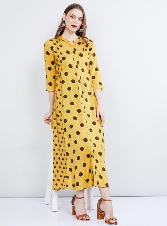 MAX Polka Dot Print Maxi Dress | Yellow | Printed