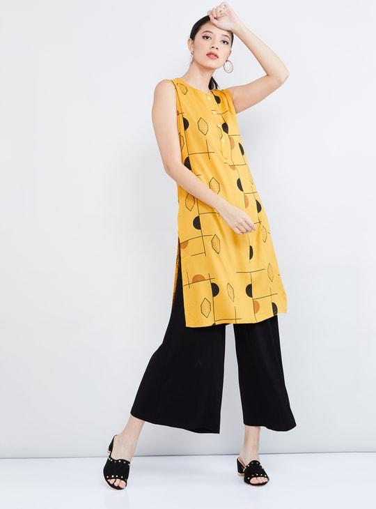 MAX Printed Sleeveless Kurta with Insert Pockets