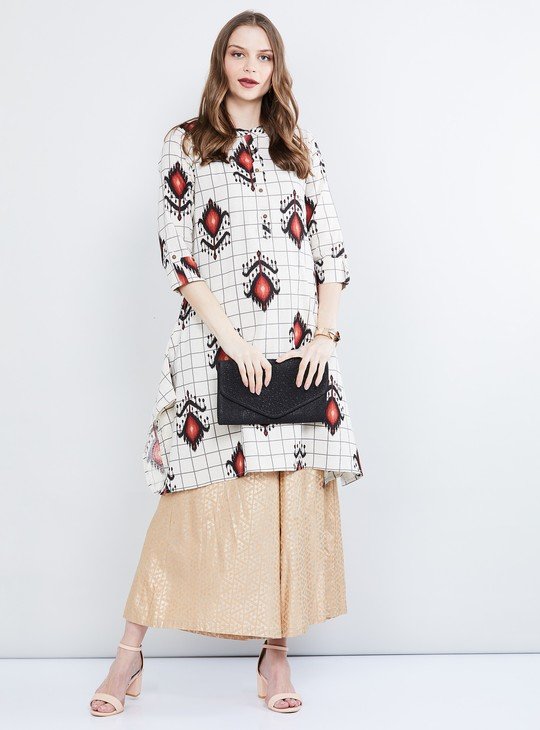 MAX Printed Roll-Up Sleeves A-line Kurta