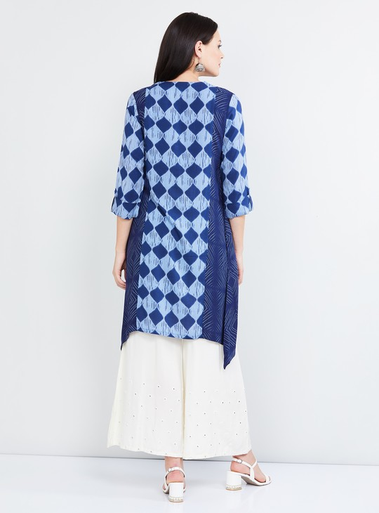 MAX Checked Three-quarter Sleeves Kurta
