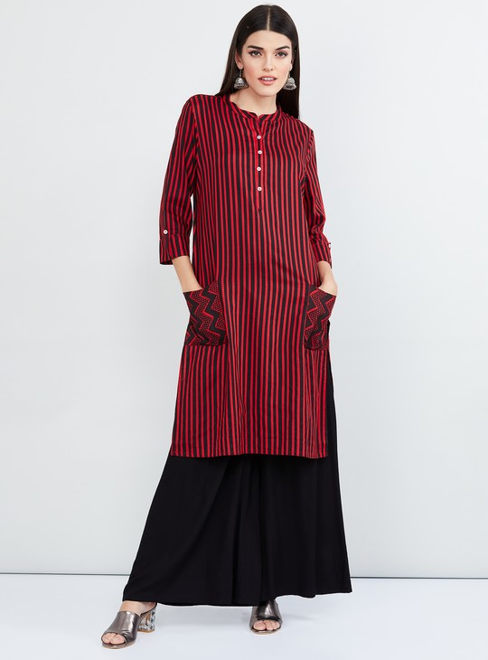 MAX Striped Straight Kurta with Button Placket